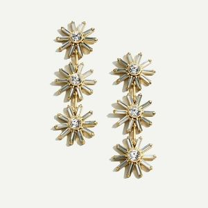 J Crew Colorblock Crystal Flower Earrings NWT